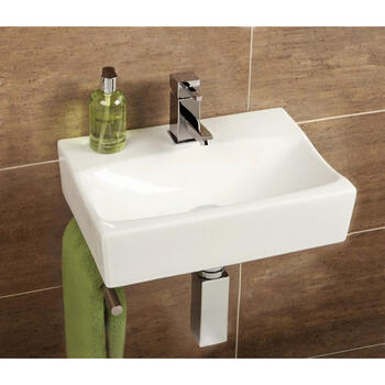 Murcia Cloakroom Washbasin With Towel Rail Straight Shape Wall Hung for Fashionable Bathroom