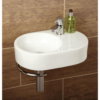 Saville Washbasin and Towel Rail Curved Oval Wall Hung Bathroom Accessory