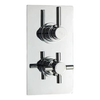 tec Pura Twin Concealed Thermostatic Shower Valve square Bathroom