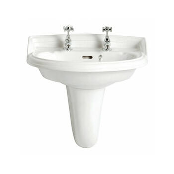 Dorchester Traditional Design White Basin Medium And Wall Hung Pedestal