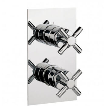 Totti Thermostatic Shower Valve with 2 Way Diverter Rectangle Shape Chrome Finish Bathroom Accessory