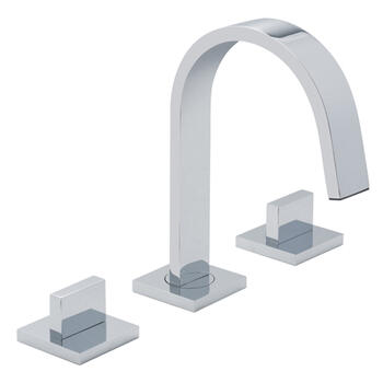 Modern contemporary CHROME spout 3 Hole Basin Mixer Taps With a knob Handle