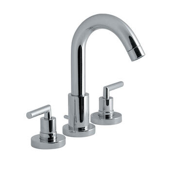 Modern sheek CHROME spout 3 Hole Basin Mixer Taps With a lever Handle