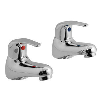 sheek Modern CHROME Twin Bath Taps (Pairs of taps) With a featured Standard spout And a lever Handle
