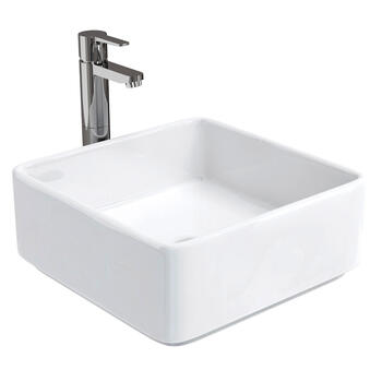 Ceramic Square Bowl Wash Basin D500 Square Shape White Colour