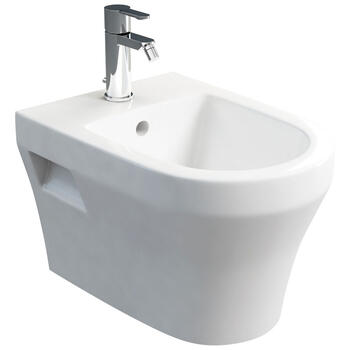 Curve Contemporary Design White Finish Wall Hung Bidet Easy to Install