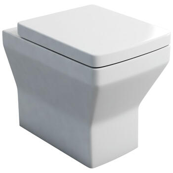 Cube Back To Wall WC and Soft Close Toilet Seat Straight Shape Modern Bathroom Design