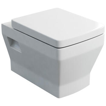 Cube Wall Hung WC and Soft Close Seat White Finish and Contemporary Bathroom Design