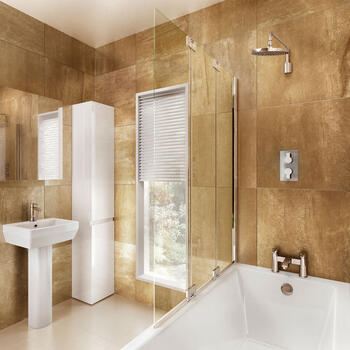 Two Fold Bath Screen With Panel - 8104