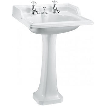 Classic Basin with Integrated Waste & Overflow 65cm 2 Tap Holes And Classic Regal P7 Pedestal