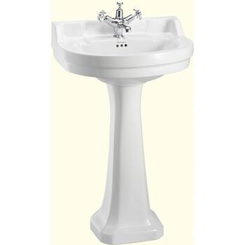 Edwardian Medium Round Basin 56cm And Pedestal Curved Traditional Bathroom Washbasin
