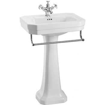 Traditional Victorian Bathroom Wash Basin 560mm With Towel Rail And Full Pedestal
