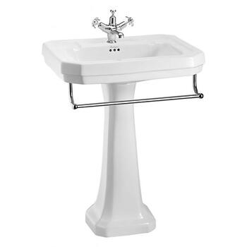 High Quality Traditional Victorian Large Basin 610mm With Towel Rail And Pedestal