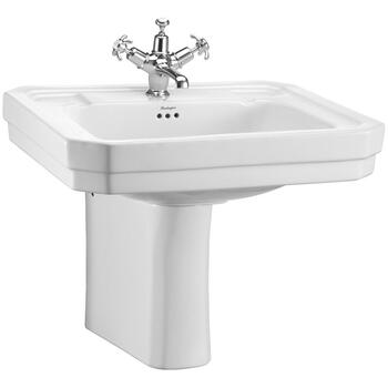 Traditional Victorian Design Bathroom Large Wash Basin 610mm And Semi Pedestal
