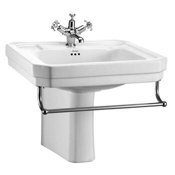 High Quality Traditional Victorian Basin 610mm With Towel Rail And Semi Pedestal