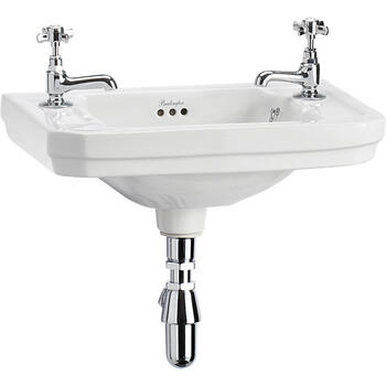 Victorian Cloakroom Basin 51cm 2 Tap Holes Straight Style Rectangular Washbasin