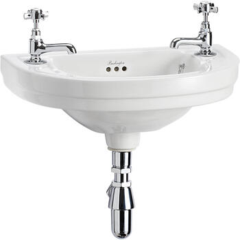 Edwardian Cloakroom Round Basin 52cm 2th curved Wall Hung Luxurious and Stylish Bathroom Accessory
