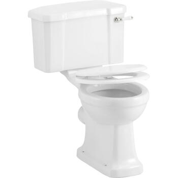 Gloss White Toilet Seat with Chrome Soft Close Hinge