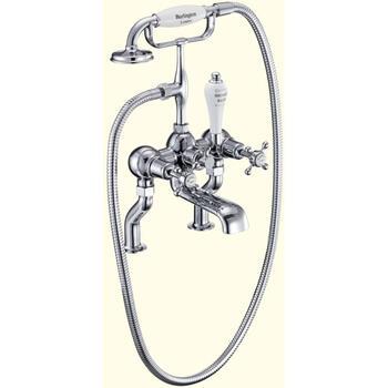Traditional CHROME standard bath mixer tap with shower attachement cross head Handle