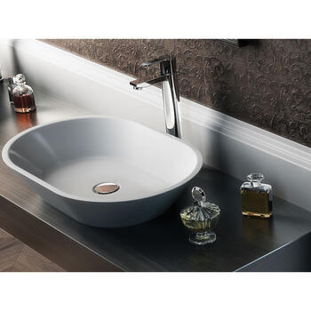 Sontuoso Bacino Oval Countertop Contemporary Design White Wash Basin