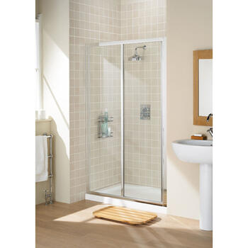 Bathroom Shower Door Silver Framed Slider Modern