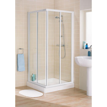 Lakes Space Saver Silver Framed Corner Entry Shower Enclosure - 8532