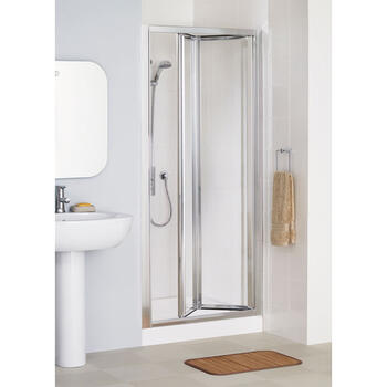 Lakes White Framed Bi-fold Shower Door Luxurious Stylish Bathroom Accessory
