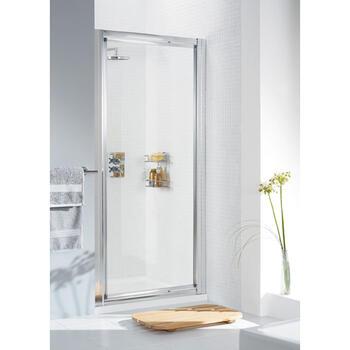 Lakes Pivot Framed White Shower Door - 8535