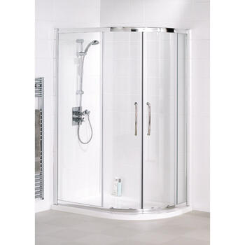 Lakes Silver Semi Framed Offset Quadrant Bathroom Shower Enclosure - 8541