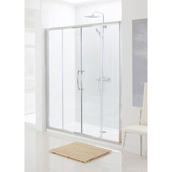 Lakes Silver Semi Framed Double Slider Bathroom Shower Door