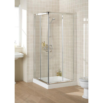 Lakes Silver Semi Framed Corner Entry Minimal Shower Cabin - 8546