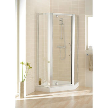 Silver Semi Framed Pentagon Side Panel Pack (x2) 350 Unique Design Bathroom