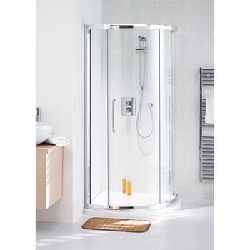 Lakes 900 Silver Semi Framed Curved Corner Slider Shower Enclosure And Tray - 8549