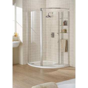 Lakes 900 Silver Semi Framed Shower Compartment Enclosure And Shower Base - 8550
