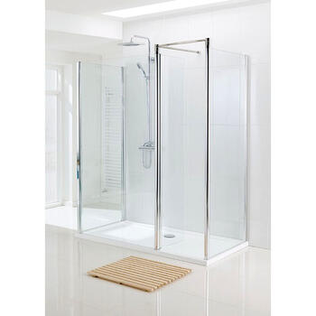 Silver Semi Framed Walk In Enclosure for Ellegant Bathroom