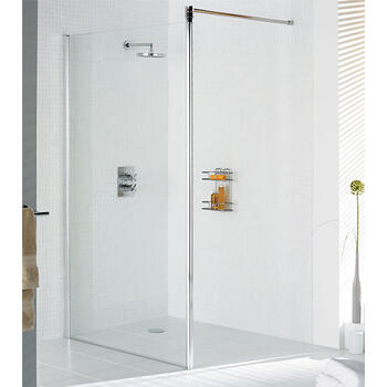 Silver Semi Framed Shower Screen for Wet Room