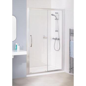 Lakes White Semi Framed Slider Minimalist Shower Door - 8557
