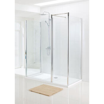 White Semi Framed Walk In Shower Enclosure