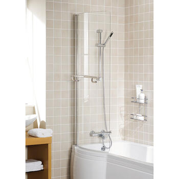 Bath P Shape Screen Silver Arc for Ellegant Bathroom