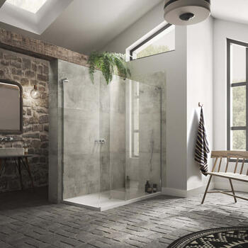 NWCC1590T Walk In Boutique Corner Shower Enclosure with Side Panel and Shower Tray for High Quality Bathroom