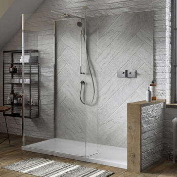 The NWSC1580T Contemporary Design Celtic Silver Finish Walk In Shower with Hinged Panel