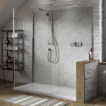 NWSC1590TH Contemporary Design Celtic Silver Finish Walk In Shower Enclosure