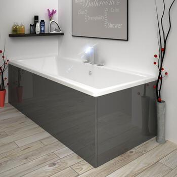 Modern Acrylic Side Bath Panel Gloss White Finish 1600 Bathroom
