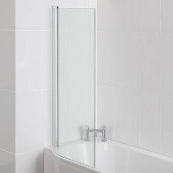 Advantage Shower Bath Single Square Screen 6mm Easyclean Silver