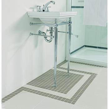 Astoria Deco Cloak Basin 520 White 1TH With Cloak Basin Stand inc Towel Rack Rectangle Contemporary