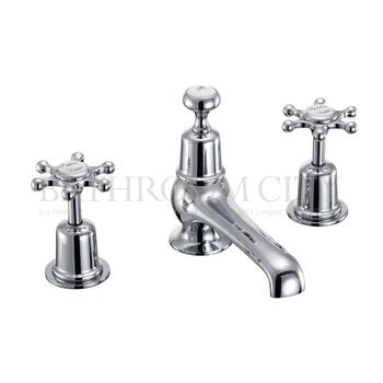 Birkenhead 3 Tap hole bath shower mixer with pop up waste with cross head Handle