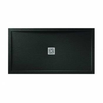 Aqualavo Rectangle Shower Tray Black Slate Effect Slimline - 179248