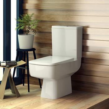 Bliss Close Coupled Toilet Pan With Square Top Fixing Seat Straight Contemporary Bathroom Accessory