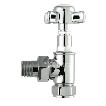 CP Victorian Cross Head Angled Radiator Valves for Traditional Bathroom