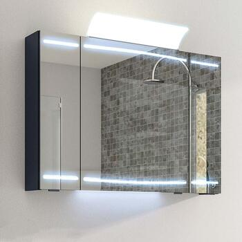 Cassca Mirror Cabinet LED 3 Door Lighting with Shaver Socket